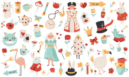 Big collection fairytale Seamless pattern  symbols and characters Ilustracja