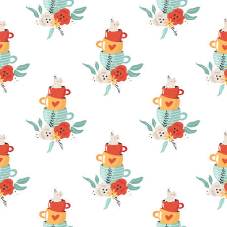 Seamless pattern with mouse sitting in tea cup Ilustracja