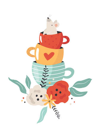 Colorful composition with mouse , tea cup and floral ornament Ilustracja