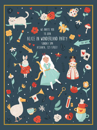 Party invitation with characters and symbols Ilustracja
