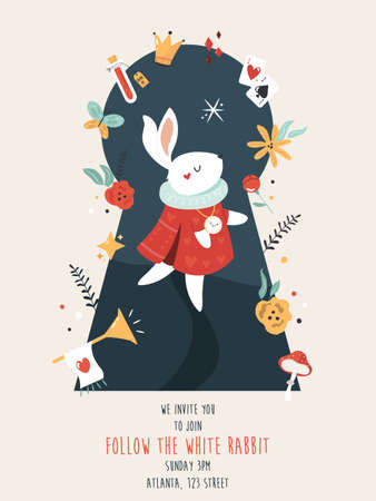 Party invitation with white rabbit and other symbols