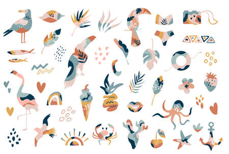 Big collection of hand drawn summer boho elements abstract shapes, flamingo, tropical leaves, textured objects. Ilustração