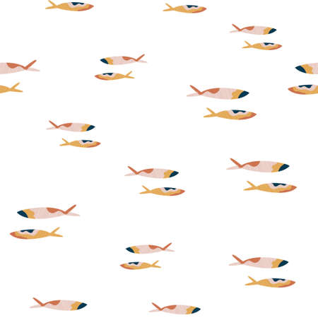 Abstract seamless pattern with colorful fishes on white background.