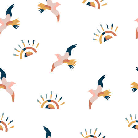 Abstract seamless pattern with colorful seagulls and suns, bright vector illustration Ilustração