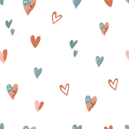 Abstract seamless pattern with colorful hearts, bright vector illustration.