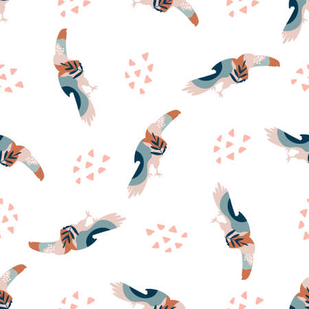 Abstract seamless pattern with colorful toucans, bright vector illustration Ilustração