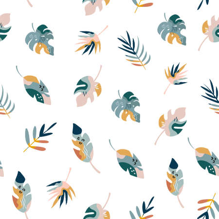 Bohemian summer seamless pattern with holiday icons, abstract shapes. Vector illustration for different designs. Ilustração