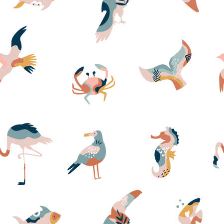 Abstract seamless pattern with sea animals and birds, colorful vector illustration