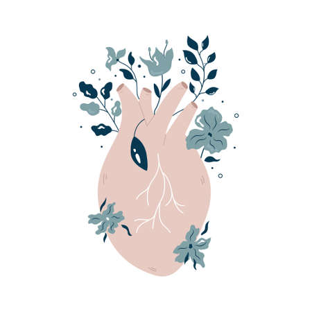 Anatomical heart with flowers and different plants. Vector illustration, flat design. Ilustracja