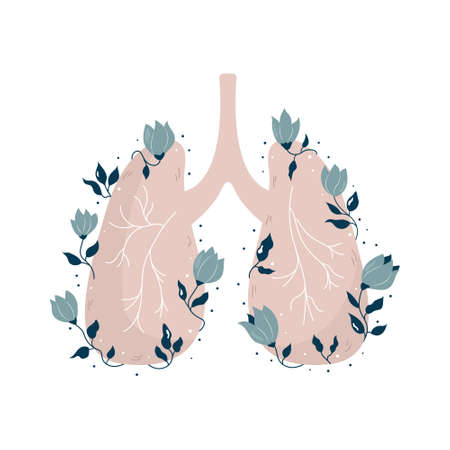 Anatomical lungs with flowers and different plants. Vector illustration, flat design. Ilustracja