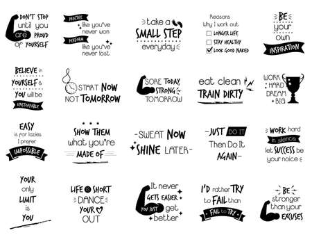 Big set of motivational slogans, quotes for sportsmen, athletes, fitness lovers,