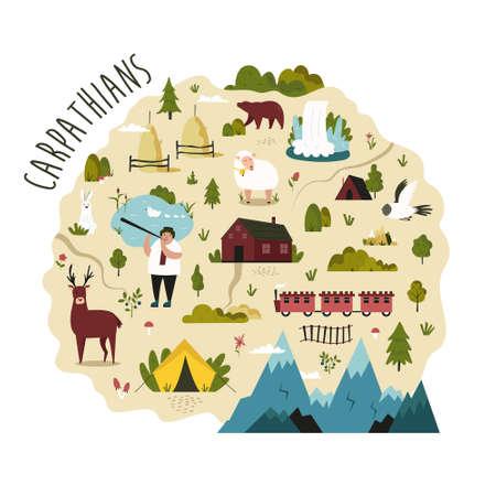 Bright map of Carpathians region with landscapes, symbols, animals. Ilustracja