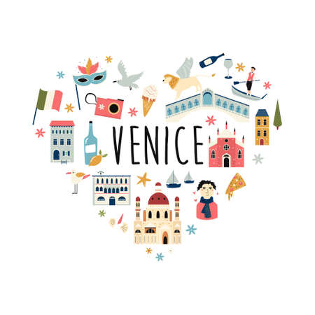 Tourist abstract design with famous destinations and landmarks of Venice. Ilustracja
