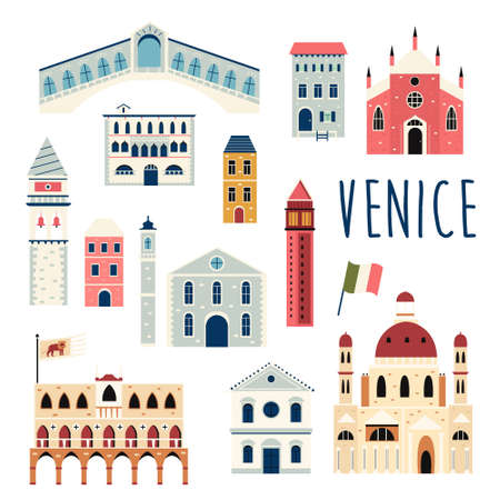 Set of famous buildings and landmarks of Venice. Vector bright set.