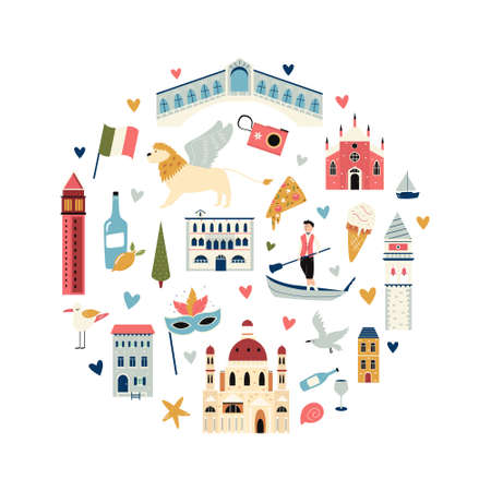 Tourist abstract circle design with famous destinations and landmarks of Venice. Ilustracja