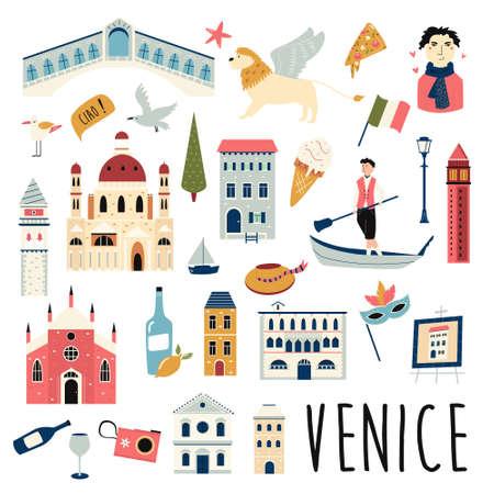 Set of famous symbols and landmarks of Venice. Vector bright set. Ilustracja