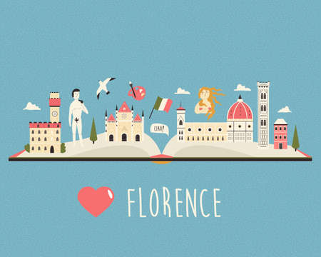 Tourist poster with famous destinations and landmarks of Florence