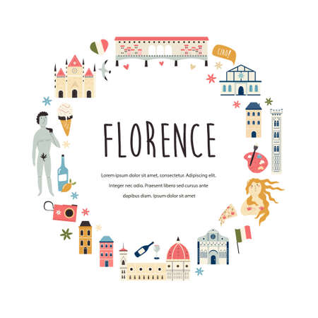 Tourist abstract design with famous destinations and landmarks of Florence.