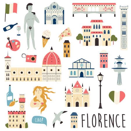 Set of famous symbols and landmarks of Florence Vector bright set of icons. Bright graphic bundle.