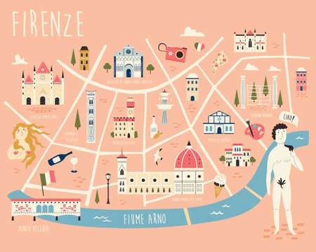 Illustrated map of Florence with famous symbols, landmarks, buildings