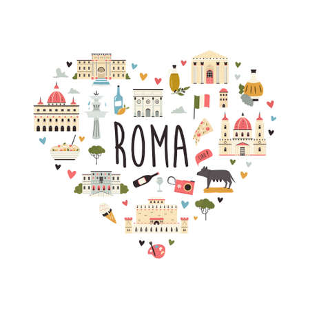 Tourist abstract design with famous destinations and landmarks of Rome.