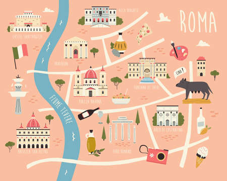 Illustrated map of Rome with famous symbols, landmarks, buildings. Ilustracja