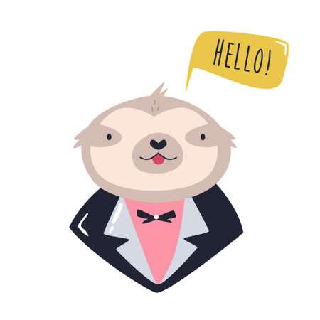 Funny illustration of smiling sloth wearing evening costume. Ilustracja