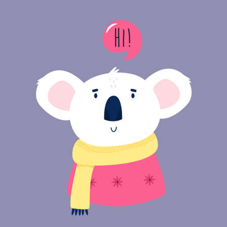 Funny illustration of smiling koala saying HI Ilustracja