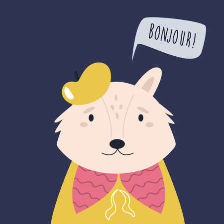Funny illustration of smiling fox artist saying BONJOUR