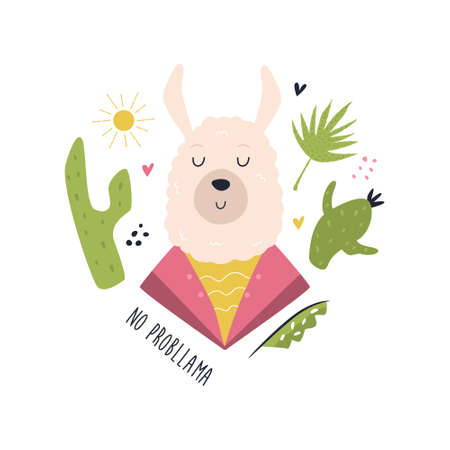 Funny llama in costume. Vector composition with floral elements Ilustracja