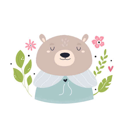 Funny bear in pajamas. Vector composition with floral elements Ilustracja