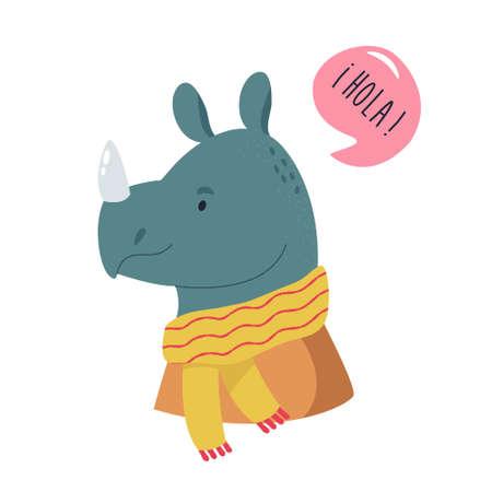 Funny illustration of smiling rhino wearing scarf. Ilustracja