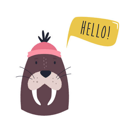 Funny illustration of adorable walrus in a sailor hat Ilustracja