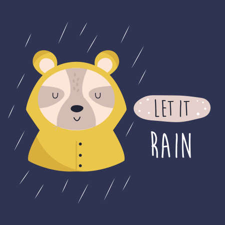 Funny illustration of a cute bear in a raincoat Ilustracja