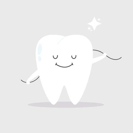 Vector illustration of a happy smiling tooth cleaning itself with a dental floss Ilustracja