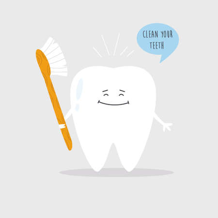 Vector illustration of a happy smiling tooth with toothbrush. Dental care concept