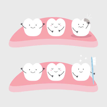 Vector illustration of funny healthy and ill teeth. Dental Medicine hygiene treatment poster