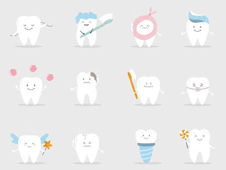 Set of cute teeth in different mood and conditions