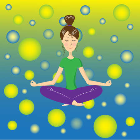 meditates: A woman meditates in colorful atmosphere