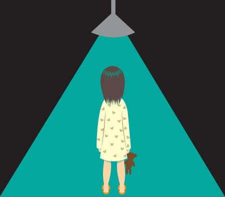 Little girl is alone in darkness