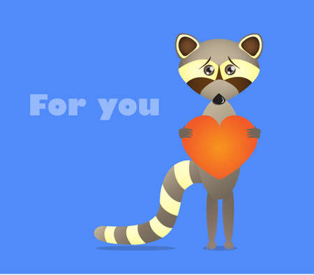 humble: Little raccoon wants to give his heart to somebody Illustration
