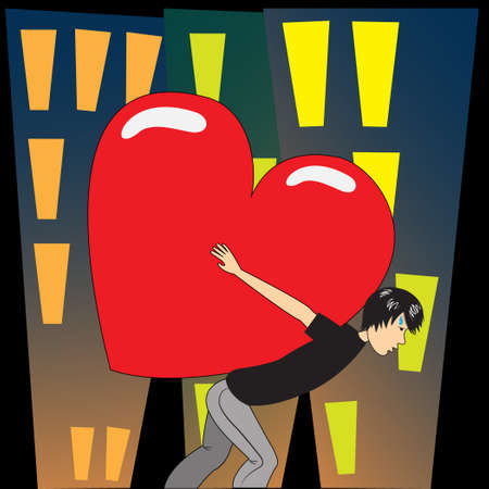 A man is carrying a big heart