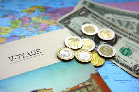 Map, note book for planning and money Banco de Imagens