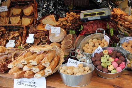 Food counter during Monmartre Christmas Fair Banco de Imagens