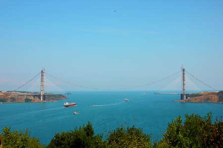 Bridge under construction on Bosphorus