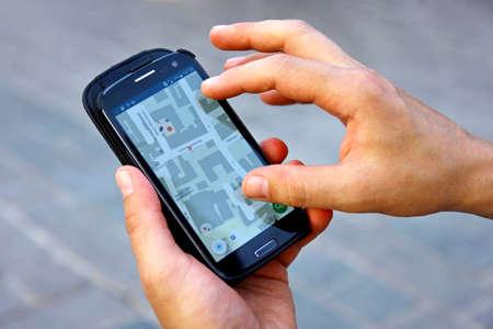 Man using navigation system travelling Banco de Imagens