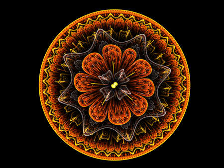 fauna: Floral mandala. Computer generated picture Stock Photo