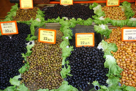 Mediterranean market. Black and green olives Banco de Imagens
