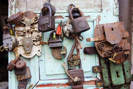 Vintade locks and keys in flea market