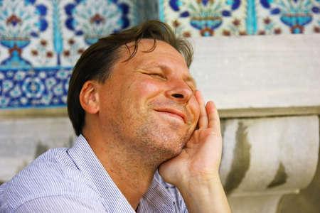 Tourist, white man in Istanbul at the sun Banco de Imagens - 55535691